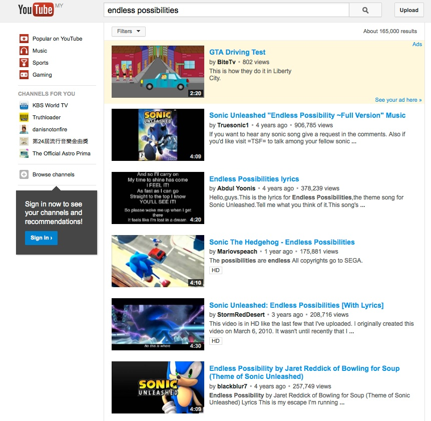 you tube search of 'endless possibilities'