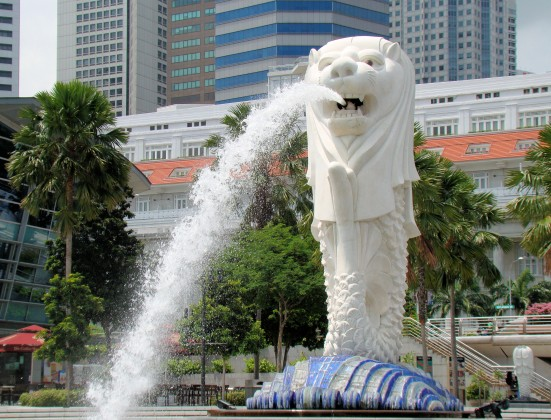 The Merlion, popular with tourists in Singapore