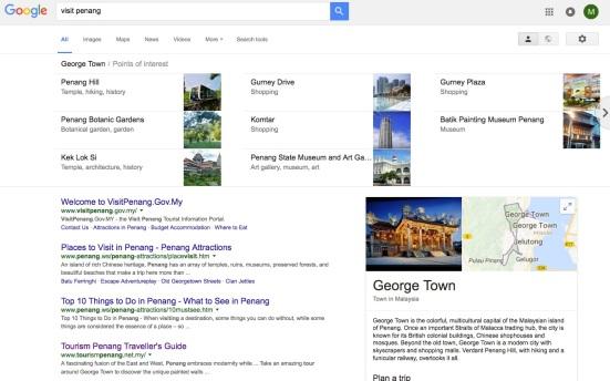 'Visit Penang' search results