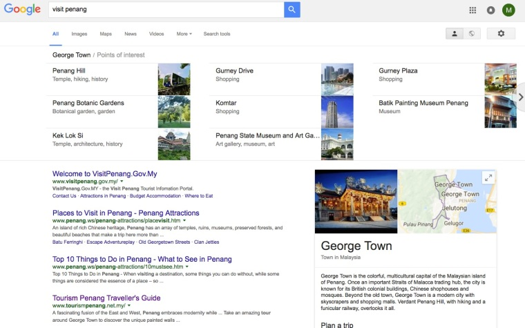 'Visit Penang' search results