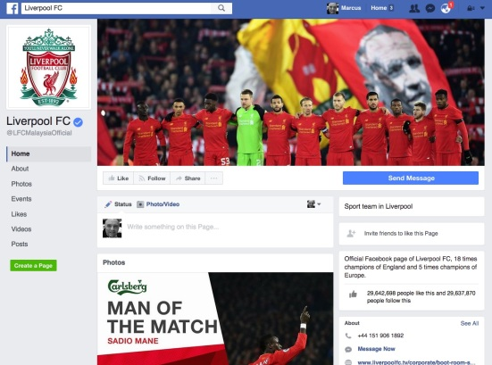 Any reference to Malaysia Airlines on the Liverpool Facebook page?