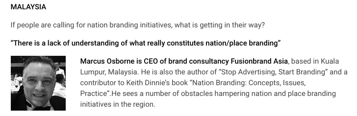 The introduction to my comments on nation branding in Asia